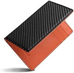 LUOLUO 薄い カードケース メンズ 二つ折り 本革 カーボンレザー カード入れ クレジットカードケース 薄型 スキミング防止 小さい財布