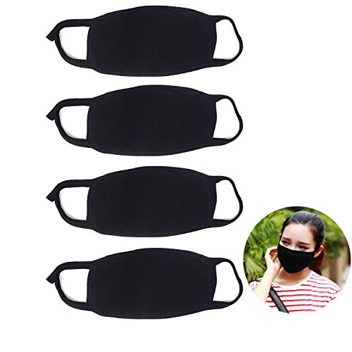(Honbay 4PCS Unisex 3 Layers Black Anti-dust Cotton Face Masks Mouth Masks Warm Ski Cycling Half Face Mouth Masks for Autumn and Winter)
