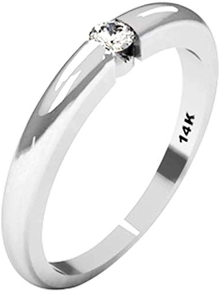 QUIMERA JEWELRY ND Anillo Solitario Oro Blanco 14kt con Diamante 0,11ct | Anillo Compromiso Oro Blanco y Diamante