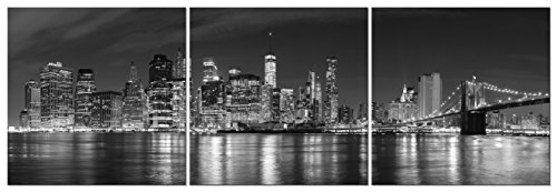 Pyradecor New York City Skyline Night Modern 3 Panel Stretched and Framed Black and White Cityscape Giclee Canvas Prints Pictures Paintings on Wall Art for Living Room Bedroom Home ()