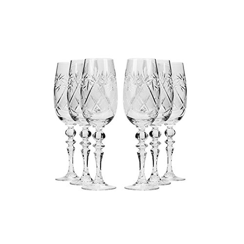 Cheap Set of 6 Neman Glassworks, 6-Oz Hand Made Vintage Russian Crystal Champagne Flute Glasses, Old-fashioned Glassware