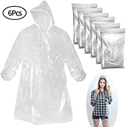 BESTZY 6 Pack Disposable Raincoats Emergency Outdoor Poncho Rainy Outdoor Activities, Lightweight Thick Clear