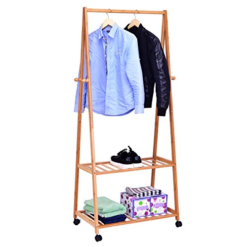 TANGKULA Garment Rack Flower Toy Shelf Home Laundry Room Bamboo Coat Organizer with Clothes Hanger and Storage Shelves (28''W)