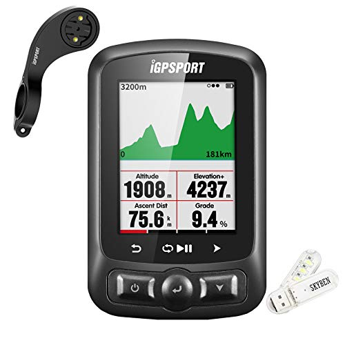 iGPSPORT IGS618 GPS Cycling Computer 2.2 Inch Anti-Glare LED Color Screen USB Rechargeable Waterproof Bike Computer with ANT+ Function and Richer Data Display,SKYBEN USB Light Included
