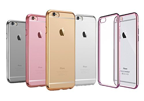 iPhone 6 Case, Soft TPU Gel Silicone Transparent Case Crystal Clear back Cover Chrome Plated Edge Bumper Case For iPhone 6S or iPhone 6 - (Pack of 5: BLACK, SILVER, PINK, GOLD, HOT PINK)