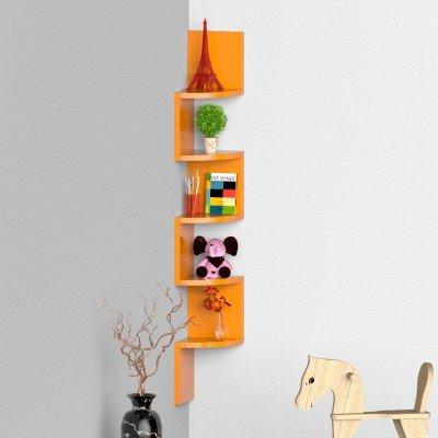 Onlineshoppee Wooden Fancy Zigzag Wall Mount Floating Corner Wall Shelf (Orange) by Onlineshoppee