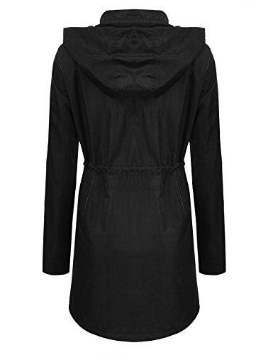 Femmes Longues Noir Glissire Fermeture Outwear Capuche cooshional Manteau Manches Windbreak Vent Lache w6TqdwXg