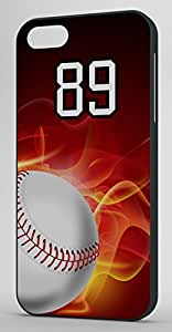 Flaming Baseball Sports Fan Player Number 89 Black Plastic Decorative iphone 4s Case