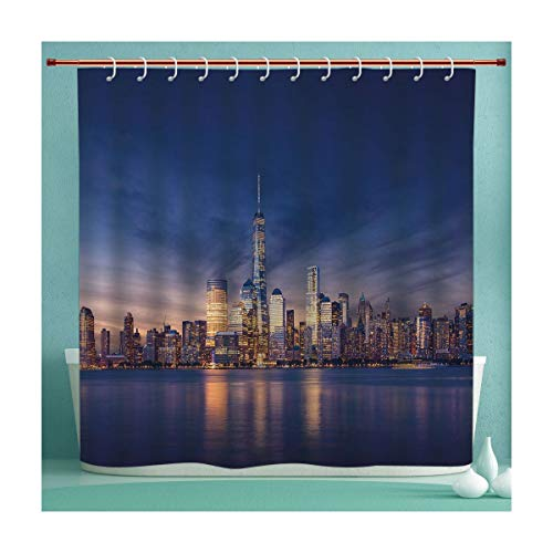 SHXJHOME Fabric Shower Curtain,Waterproof Mildew Resistant Bathroom Curtains Bathroom Decor,75 inches Long,City