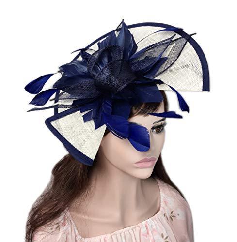 - YSJOY Vintage Sinamay Feather Flower Fascinator Hat Two Way Wear Bridal Shower Hat Wedding Cocktail Tea Party Hat Church Kentucky Derby Hat Headwear Navy Blue