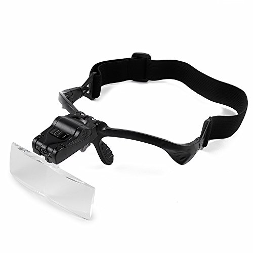 Home-organizer Tech Professional Headband Jeweler's LED Magnifier Visor with 5 Replaceable Lenses 1.0X to 3.5X