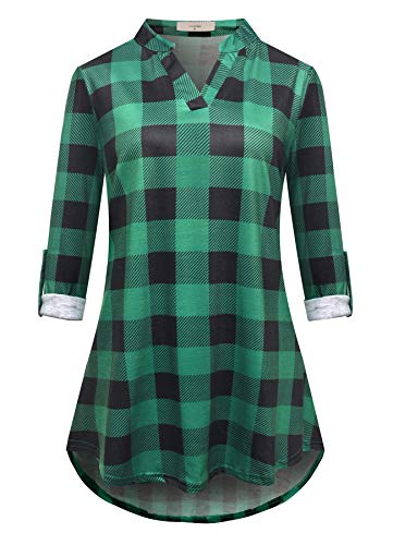 Luranee Office Blouses for Women, Ladies Long Tunic Tops Henley Shirts Long Sleeve Flowy Tunics V Neck Nice Chic Peasant Blouse Unique Leisure Novelty Designer Work Outfits Green XXL ()