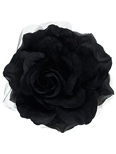 NYFASHION101 Women's Multifunction Rose Flower Sheer Petal Brooch Pin Hair Tie Clip, Black