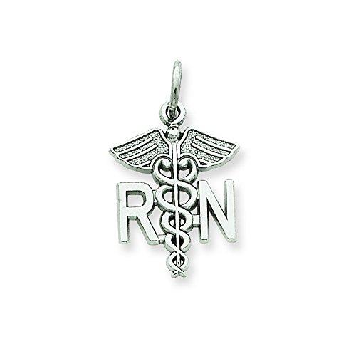 (14k White Gold Registered Nurse Charm)