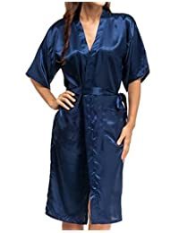 Feoya Men's Ladies's Kimono Bathrobe Women Solid Color Lightweight Loungewear