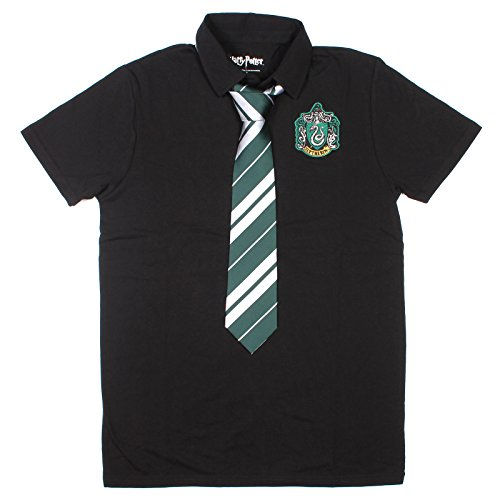 Harry Potter Slytherine Black Costume Uniform Polo with Tie (Small) (Harry Potter Uniform Shirt)