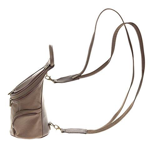 FIRENZE ARTEGIANI.Mochila de mujer casual piel auténtica.Mochila bolso cuero genuino Savage.Asa para uso como bolso de mano. MADE IN ITALY. VERA PELLE ITALIANA. 16x28x13 cm. Color: TAUPE