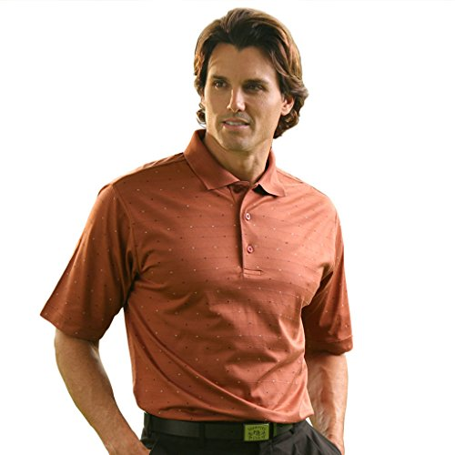 Monterey Club Mens Pima Cotton Jacquard Shirt #1273 (Passion fruit/Light Khaki, Large) Yarn Dye Pique Polo