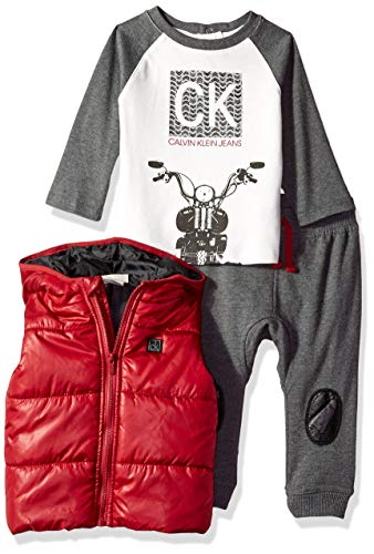 Calvin Klein Baby Boys 3 Pieces Vest Set-Jog Pants, Vanilla/Gray/red, 24M