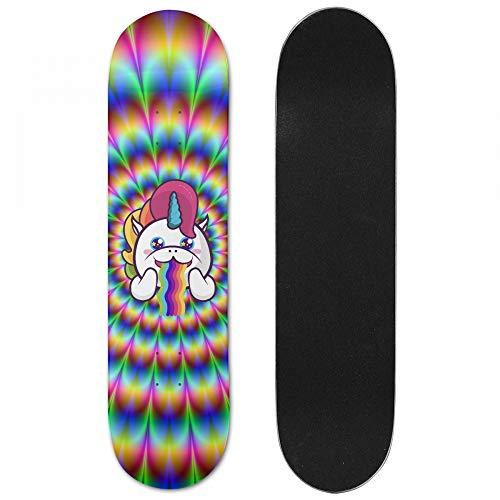 STREET FFX Skateboard Deck Grip Tape, Cute Unicorn Rainbow/Natural Skateboard Decks - 7.5 x 31 Inches-Medium - Penny Skateboard Rainbow