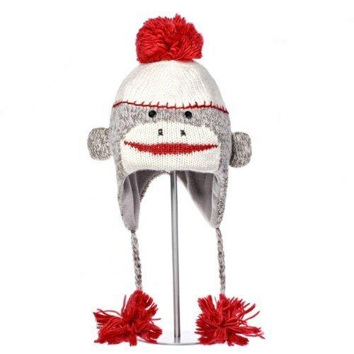 Knitwits Little Kids' Sock Monkey Fleece-Lined Wool Pilot Hat, Heather Grey