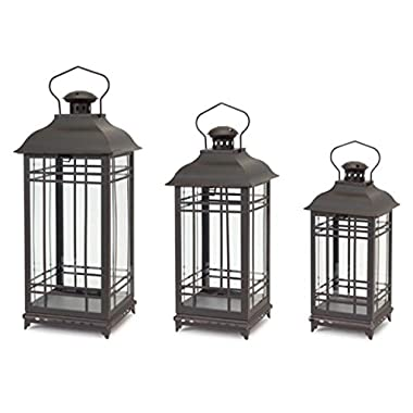 Set of 3 Rustic Black Coffee Mission-Style Decorative Glass Pillar Candle Lanterns 20