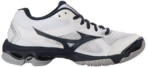 Wave Mizuno Navy Shoes 7 Bolt White Volleyball 430238 Womens zBxrwzH