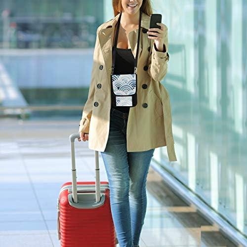 美しい 波柄 パスポートホルダー セキュリティケース パスポートケース スキミング防止 首下げ トラベルポーチ ネックホルダー 貴重品入れ カードバッグ スマホ 多機能収納ポケット 防水 軽量 海外旅行 出張 ビジネス