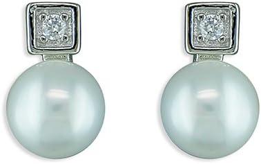 Pendientes de plata de ley con perla de agua dulce y circonita cúbica cuadrada