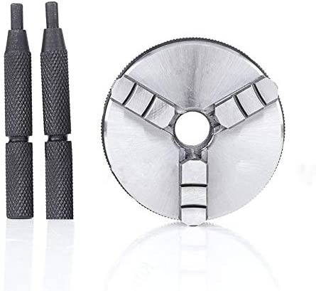 Facibom K01-63/65/M14 3 Jaw Lathe Chuck Manual Self-Centering Metal Lathe Chuck Tool Accessories Tool with 2Pcs Lock Rods