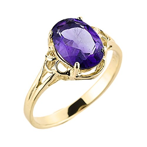 Solid 10k Yellow Gold February Birthstone Genuine Amethyst Gemstone Ring (Size 7) Amethyst Ladies Fashion Gold Ring