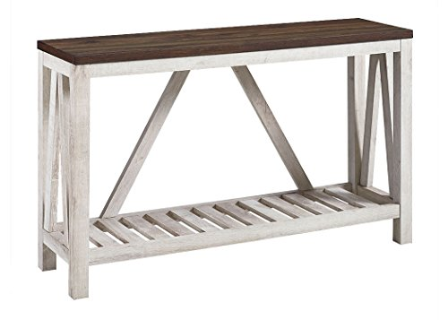 New 52 Inch A-Frame Rustic Entry Table - Dark Walnut Top with White Oak Finish (Foyer Entry Table)