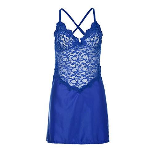 (Rakkiss Women Sexy Lingerie Lingerie Sleepwear Underwear Lace One Piece Underwear Blue)