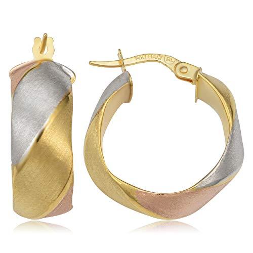 Kooljewelry 14k Tricolor Gold 7.8 mm Satin Finished Round Hoop Earrings