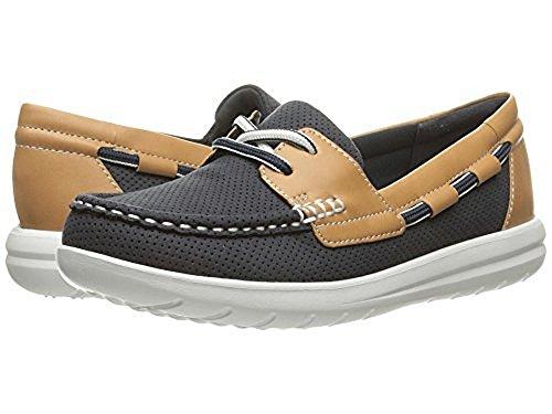 CLARKS Women's Jocolin Vista Boat Shoe, Navy Perforated Textile, 7 Medium US