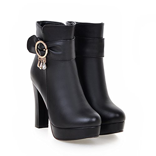 BalaMasa Womens High-Heel Chunky Heels Platform Round-Toe Urethane Boots ABL09587 Black d79P7nTWS