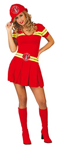Ladies Sexy Red Firefighter Fireman Firewoman Hen Do Emergency Services Fancy Dress Costume Outfit 14-18 (UK 14-18)]()