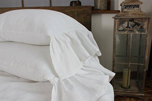 Standard linen pillow sham with mermaid long ruffle, 20 X 26