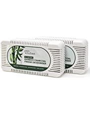 2 Bamboe Houtskool Koelkast Fresheners | Milieuvriendelijke Koelkast Geur Eliminator Set (2 stuks) | Koelkast Deodoriser Gemaakt van Natuurlijke Bamboe