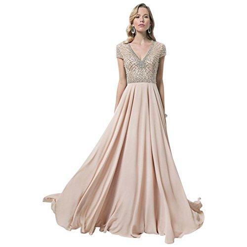 V-neck Illusion Bodice Mother Bride/groom Gown Sunburst Beading Style. Illusion V-cou Corsage Mère Mariée / Robe De Marié Sunburst Style Perlant. Champagne Champagne