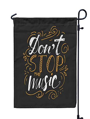 ROOLAYS Outdoor Seasonal Garden Flags Stands Stop The Music Custom Typography Your Designs Bags Posters Cards Etc Tshirts Invitations Double Sided Colorful Holiday Yard Flag 12X18 inches ()