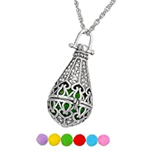 HOUSWEETY Aromatherapy Essential Oil Diffuser Necklace Round Locket Pendant with 6 Refill Pads