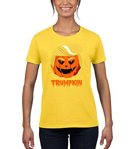 Tee-Rex Halloween Trumpkin Funny Womens Fashion T-Shirt (XX-Large, Yellow) ()