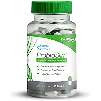 ProbioSlim Probiotics + Weight Loss Supplement, Burn Fat, Lose Weight, Reduce Gas, Bloating, Constipation, Digestive Health, SmartBiotics, 60 Count