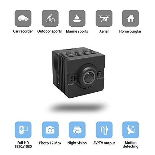 Mini Hidden Camera – Spy Camera FULL HD 1080p x 1920p – IR Night Vision and Motion Detection – Ideal as Hidden Nanny Cam – Car Surveillance or Marine Camera Kit – Waterproof Case