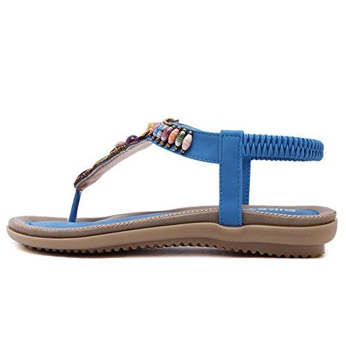 TININNA Women Summer Bohemia Bead Sandals Flip Flops Slippers Ladies Thong Flat Sandals Beach Shoes Blue d2Ysv