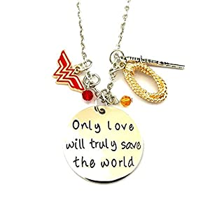 - 410IRpEDjgL - J&C Family Owned Wonder Woman Amazonian Logo Cosplay Necklace w/Gift Box