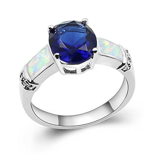Sinlifu Genuine Ethiopian Fire Opal Blue Tanzanite Solitaire Ring Silver Plated Women Sexy - Ring Tanzanite Fire Opal
