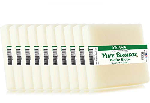 Stakich Pure White BEESWAX Blocks - 100% Natural, Cosmetic Grade, Premium Quality - 10 lb (in 1 lb blocks)