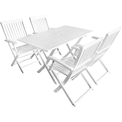 Tidyard Outdoor Dining Set 5 Pieces Rectangular Table 4 Folding Chairs White Acacia Wood for Garden Terrace Patio (Set Patio White Dining Wood)